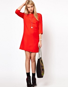 Image 4 ofASOS Shift Dress With Cropped Sleeves
