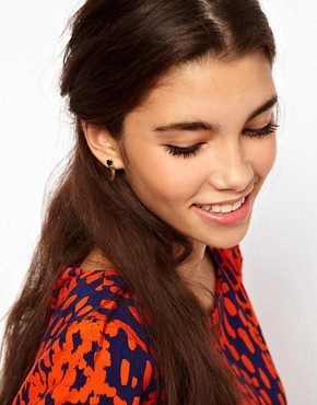 Image 2 of ASOS Ditsy Horn Earrings