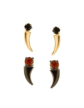 Image 1 of ASOS Ditsy Horn Earrings