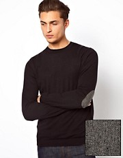 ASOS Crew Neck Sweater with Elbow Patches