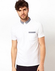 ASOS Polo With Polka Dot Woven Collar