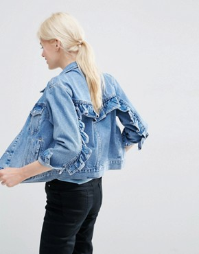 ASOS Denim Western Jacket in Mid Stone-wash Blue with Frill Detail