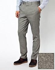 Pantaln de traje de corte slim de tweed de ASOS