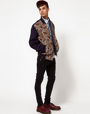 Image 4 ofReclaimed Vintage Varsity Jacket with Tapestry Panel