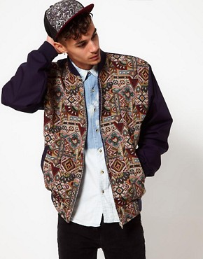 Image 1 ofReclaimed Vintage Varsity Jacket with Tapestry Panel