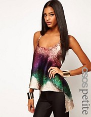 ASOS PETITE Cami With Ombre Sequin Print And Dipped Back