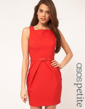 Image 1 ofASOS PETITE Exclusive Tulip Dress With Belt