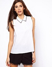 ASOS Top With Cut Out Back And Contrast Stitch Detail
