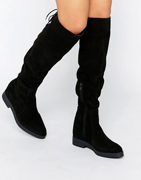 Pieces Darby Suede Flat Over The Knee Boots