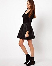 Warehouse Leather Look Skater Skirt