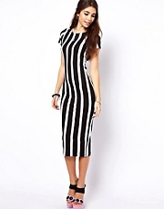 ASOS Bodycon Dress In Vertical Stripe Print