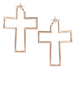 Image 1 ofASOS Oversized Open Cross Earrings