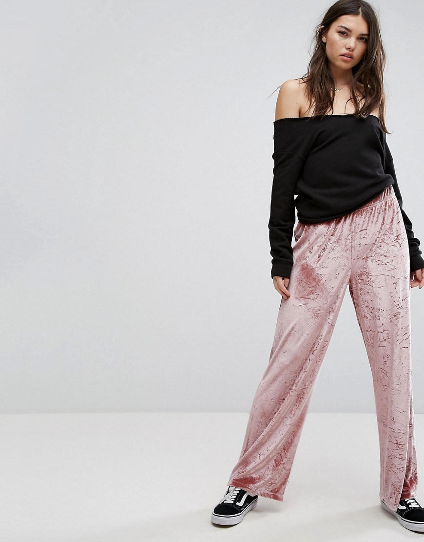 ASOS Wide Leg Trouser in Velvet - Nude