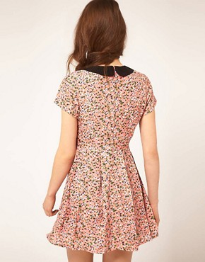 Image 2 ofDahlia Ditsy Floral Dress With Contrast Collar