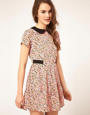 Image 1 ofDahlia Ditsy Floral Dress With Contrast Collar
