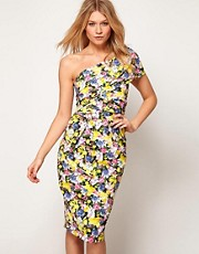 ASOS One Shoulder Pencil Dress in Floral Print