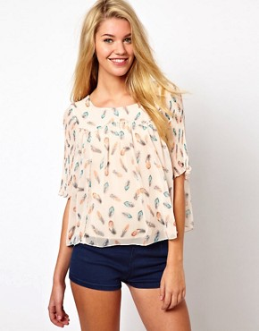 Image 1 ofDarling Feather Print Blouse