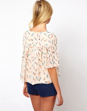 Image 2 ofDarling Feather Print Blouse