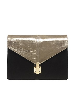 Image 1 ofASOS Suede And Metallic Mix Portfolio Clutch