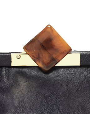 Image 2 of ASOS Tortoise Shell Frame Clutch