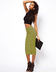 ASOS Pencil Skirt in Panelled Stripe