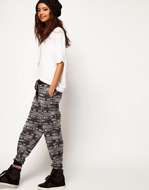 Image 1 ofASOS Sweatpants in Metallic Aztec Print