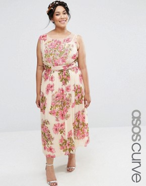 ASOS CURVE Wedding Pretty Floral Soft Midi With Embellished Bodice