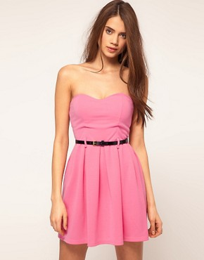 Image 1 ofPaprika Strapless Belted Dress