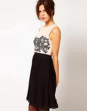 Image 1 ofWarehouse Embroidered Bodice Dress