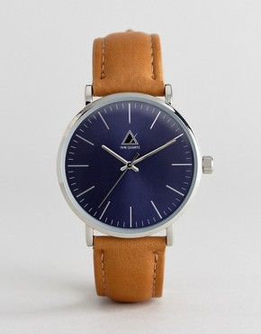 ASOS Watch With Tan Leather Strap And Navy Face