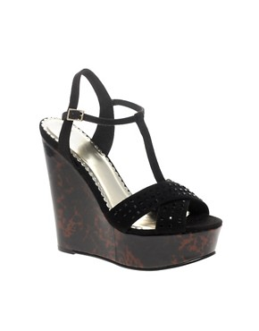 Image 1 ofASOS HELLY T Bar Wedge High Sandal