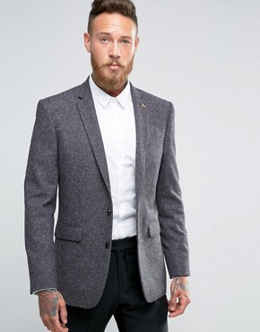 Farah Skinny Tweed Blazer with Fleck