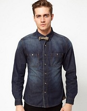 Esprit Denim Shirt With Bow Tie