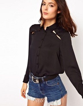 Image 1 ofASOS Shirt With Peekaboo Shoulder And Tab Detail
