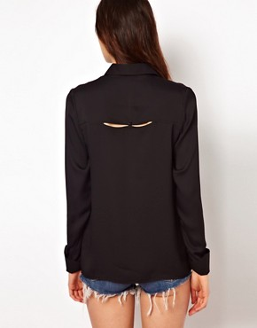 Image 2 ofASOS Shirt With Peekaboo Shoulder And Tab Detail