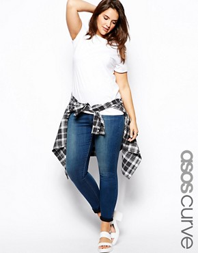 ASOS CURVE Pull On Jegging in Mid Wash