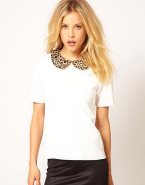 Image 1 ofRiver Island Animal Collar Woven T-Shirt