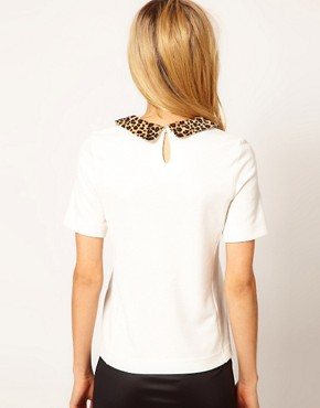 Image 2 ofRiver Island Animal Collar Woven T-Shirt