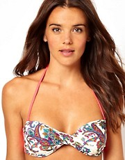 Warehouse Pink Paisley Bandeau Bikini Top