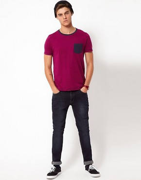 Image 4 ofASOS T-Shirt With Speckle Jersey And Contrast Pocket