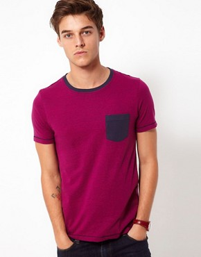Image 1 ofASOS T-Shirt With Speckle Jersey And Contrast Pocket