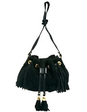 ASOS Leather Duffle Bag With Tassels