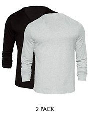 ASOS Long Sleeve T-Shirt With V Neck 2 Pack Black/Grey Marl SAVE 2