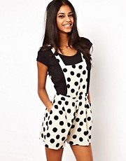 John Zack Pinafore Playsuit In Polka Dot