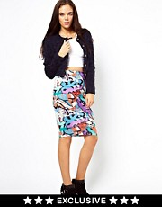 Vero Moda Graffiti Print Midi Skirt