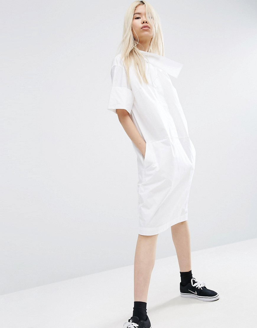 ASOS WHITE Shirt Dress With Cross Neck Detail