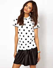 ASOS Polo Top in Polka Dot Print