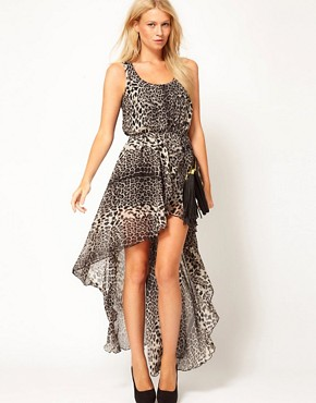 Image 1 ofLove Chiffon Wrap Hi Lo Dress in Leopard Print