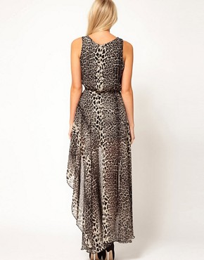 Image 2 ofLove Chiffon Wrap Hi Lo Dress in Leopard Print