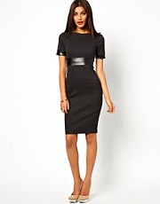 Vesper Dress With Faux Leather Waist Detail